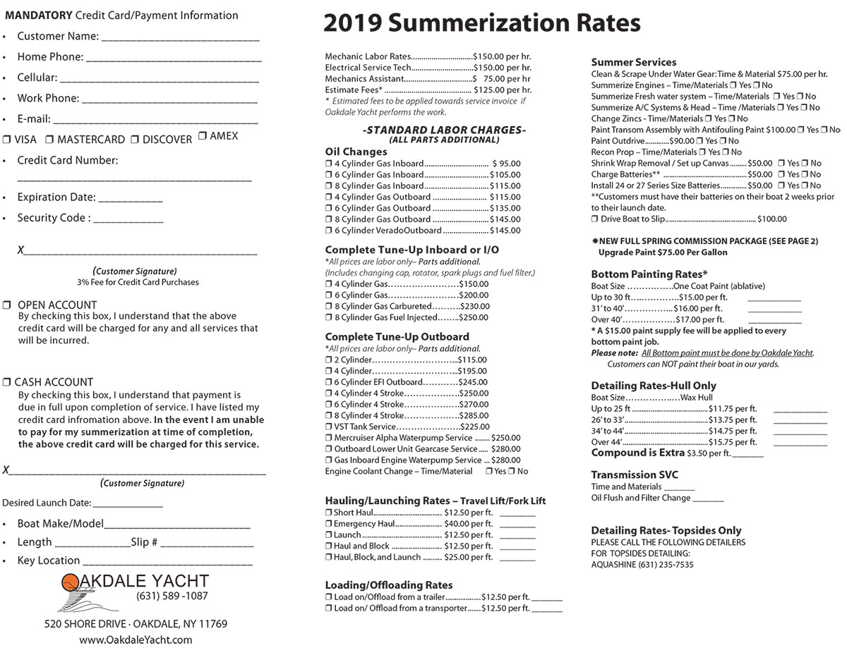 SUMMERIZATION SERVICES AND RATES 2018 SEASON